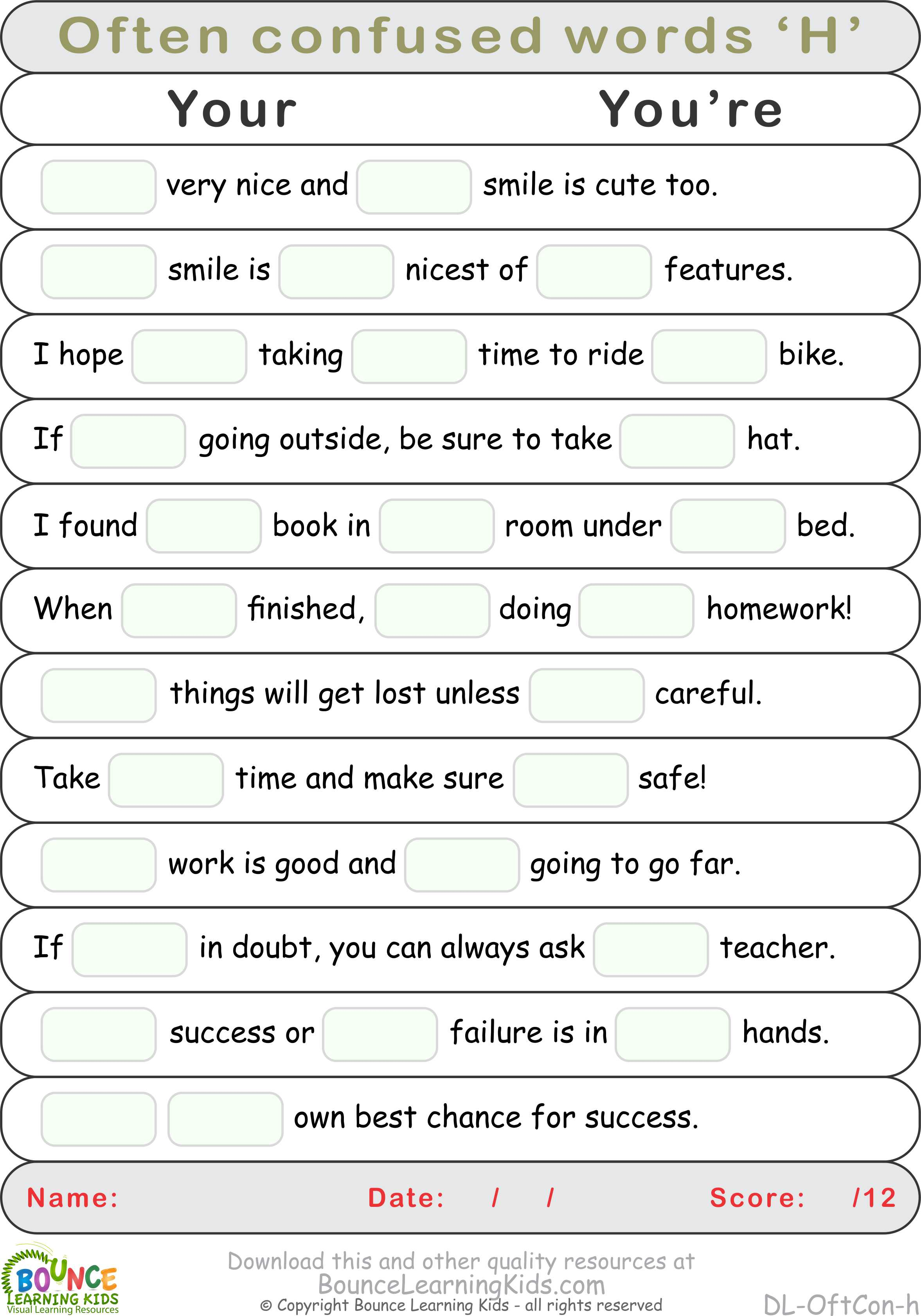 Often Confused Words H
